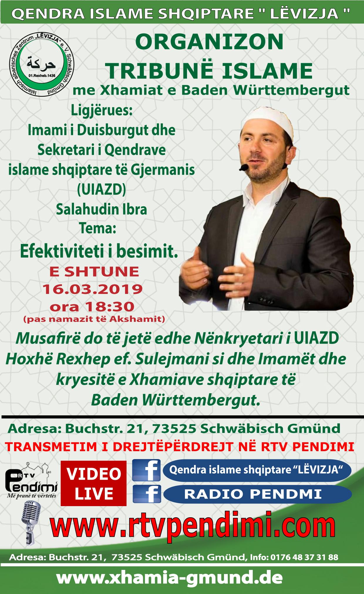 1. Tribun me Xhamiat e Baden Württembergut LEVIZJA