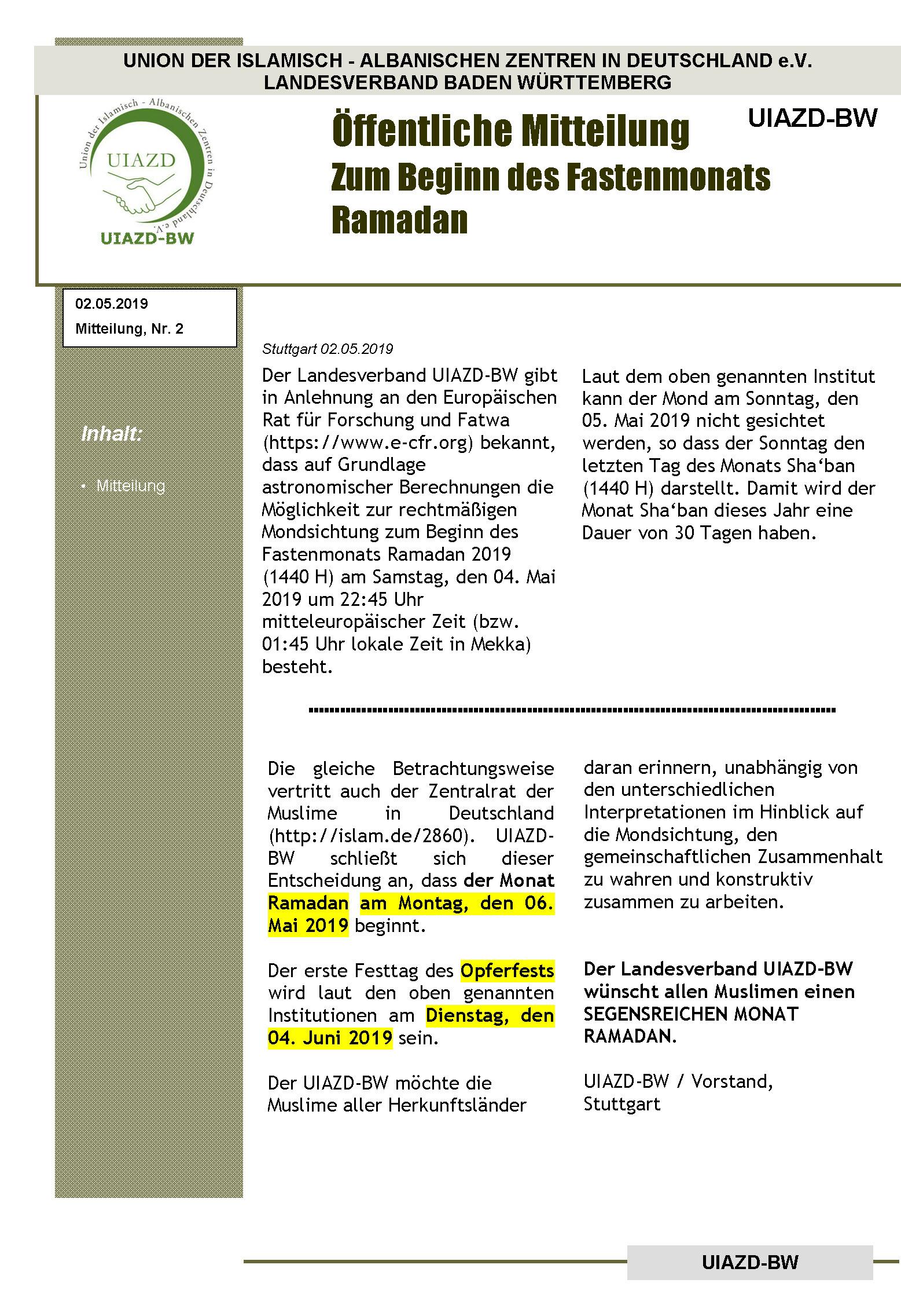 Komunikata nr. 2.1- 2019 Deutsch
