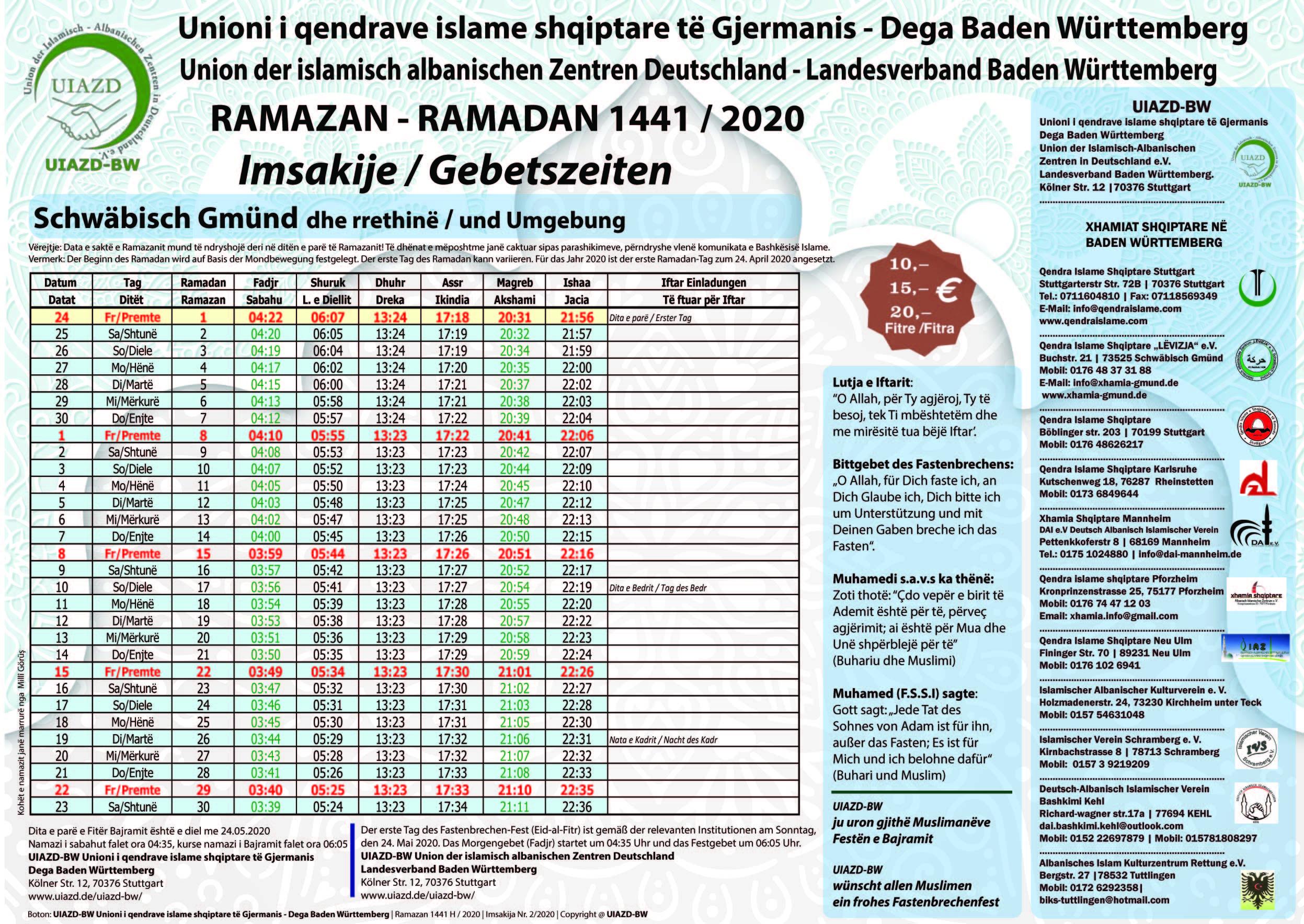 2. UIAZD-BW Imsakija Schwäbisch Gmünd 2020_